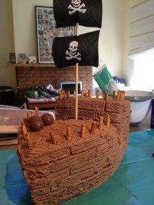 3D торт для мальчика Корабль пиратов-шаг 11
